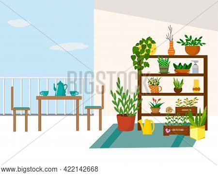 Garden On The Balcony. Tea Table, Rack With Flowers And Seedling Boxes. A Place To Relax. Vector Ill
