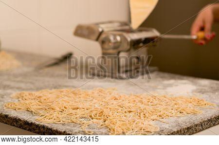 Homemade Fresh Pasta, Traditional Italian Cuisine. Close Up.