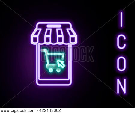 Glowing Neon Line Mobile Phone And Shopping Cart With Striped Awning Icon Isolated On Black Backgrou