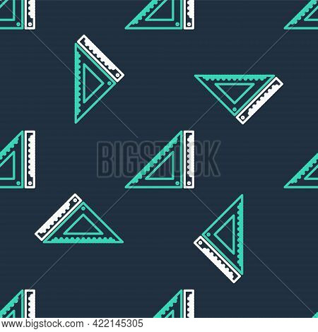 Line Triangular Ruler Icon Isolated Seamless Pattern On Black Background. Straightedge Symbol. Geome