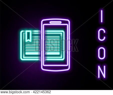 Glowing Neon Line Smartphone And Book Icon Isolated On Black Background. Online Learning Or E-learni