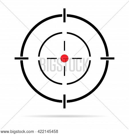Sight Gun Vector Icon With Shadow. Modern Target Illustration Of Crosshair Symbol For Web Design. Cr