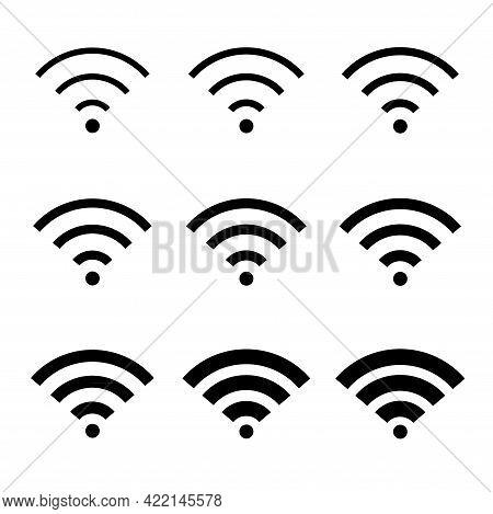 Set Of Wi-fi Internet Symbol, Wifi Free Signal Vector Illustration, Wireless Mobile Icon, Wi Fi Free