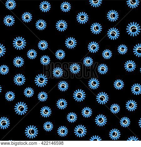 Line Eclipse Of The Sun Icon Isolated Seamless Pattern On Black Background. Total Sonar Eclipse. Vec