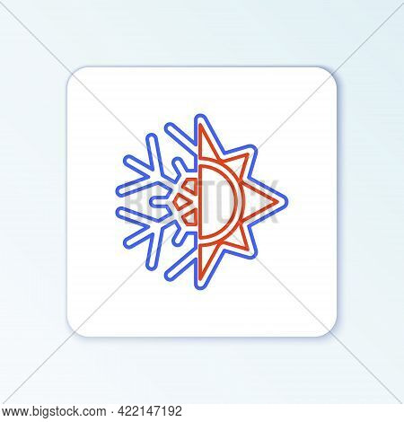 Line Hot And Cold Symbol. Sun And Snowflake Icon Isolated On White Background. Winter And Summer Sym
