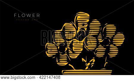 Vector Illustration Of Indoor Flowers In A Pot. Abstract Wall Art, Poster Or Cover Art.
