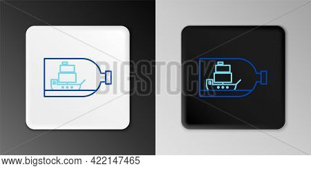 Line Glass Bottle With Ship Inside Icon Isolated On Grey Background. Miniature Model Of Marine Vesse
