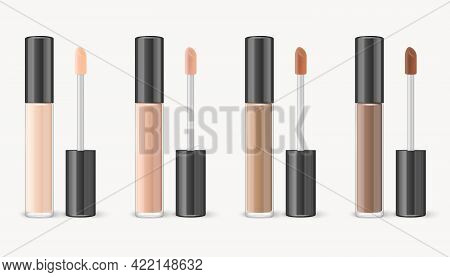Vector 3d Realistic Lip Gloss, Foundation, Concealer, Corrector Package, Black Cap, Lip Gloss Set Is