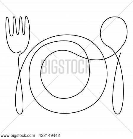 Continuous Line Art, Doodle. Kitchen Utensils, Tableware. One Line Drawing. Plate Fork Spoon. Contin