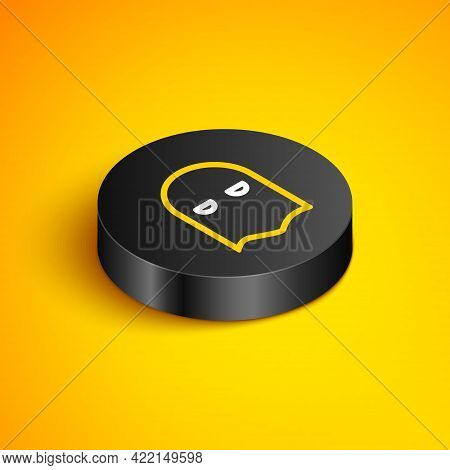 Isometric Line Executioner Mask Icon Isolated On Yellow Background. Hangman, Torturer, Executor, Tor