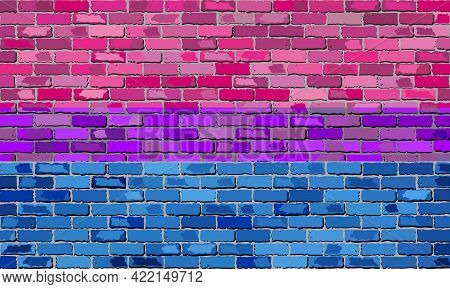 Bisexual Pride Flag On A Brick Wall - Illustration,   Abstract Grunge Bisexual Flag