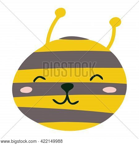 The Face Of A Bee Or Wasp. Bee With Antennae For Children's Room Decoration, Banners, Postcards.