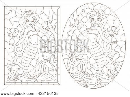 Set Of Contour Illustrations Of Stained Glass Windows With Mermaids, Dark Contours On A White Backgr