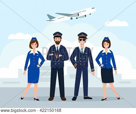 Airplane Staff Or Crew At The Airport. Aircraft Captain, Pilot Assistant And Stewardesses In Uniform