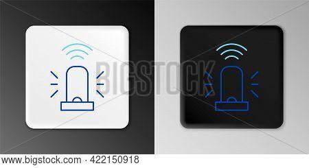Line Smart Flasher Siren System Icon Isolated On Grey Background. Emergency Flashing Siren. Internet