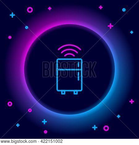 Glowing Neon Line Smart Refrigerator Icon Isolated On Black Background. Fridge Freezer Refrigerator.