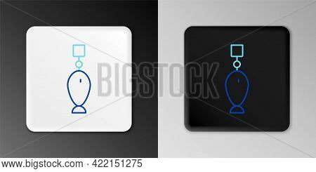 Line Fishing Spoon Icon Isolated On Grey Background. Fishing Baits In Shape Of Fish. Fishing Tackle.