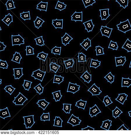 Line House Under Protection Icon Isolated Seamless Pattern On Black Background. Home And Shield. Pro