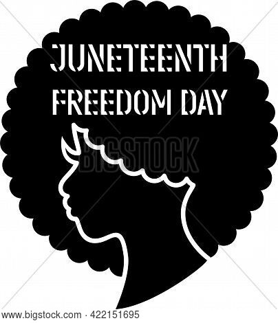 Beautiful American Black Woman Silhouette. Girl Character Design. Afro Woman Face. Juneteenth Concep