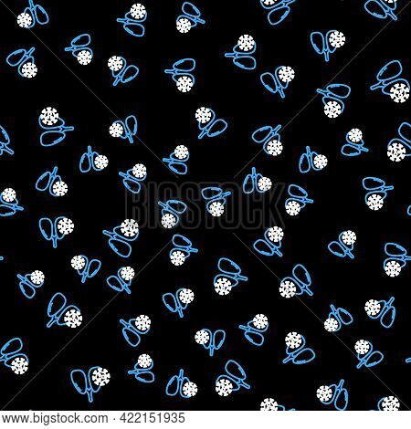 Line Virus Cells In Lung Icon Isolated Seamless Pattern On Black Background. Infected Lungs. Coronav