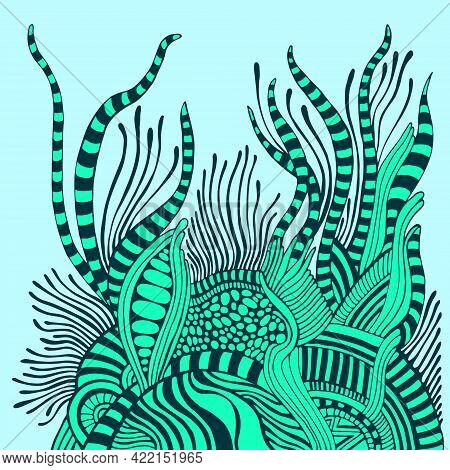 Abstract Surreal Fantastic Background In Aquamarine Blue Turquoise Colors.