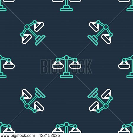 Line Scales Of Justice Icon Isolated Seamless Pattern On Black Background. Court Of Law Symbol. Bala