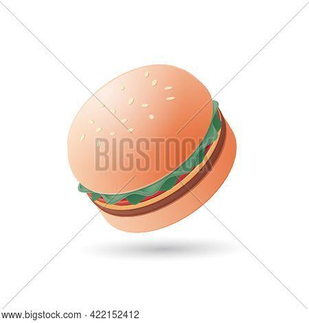 Hamburger, Cheeseburger Sandwich Icon. Isometric Colored Vector Illustration. Isolated On White Back