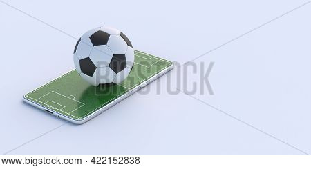Green Grass On Mobile And Soccer Football Ball Isolated On White Background. 3D Illustration