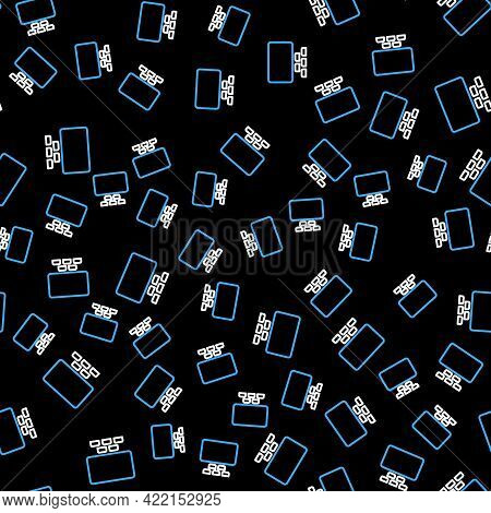 Line Cinema Auditorium With Screen And Seats Icon Isolated Seamless Pattern On Black Background. Vec