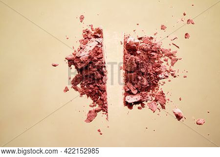Crushed Cosmetics, Mineral Organic Eyeshadow, Blush And Cosmetic Powder Isolated On Golden Backgroun