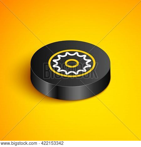 Isometric Line Chakra Icon Isolated On Yellow Background. Black Circle Button. Vector