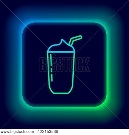 Glowing Neon Line Milkshake Icon Isolated On Black Background. Plastic Cup With Lid And Straw. Color