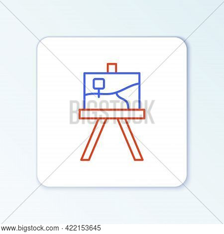 Line Wood Easel Or Painting Art Boards Icon Isolated On White Background. Colorful Outline Concept.