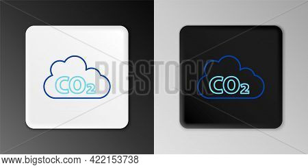 Line Co2 Emissions In Cloud Icon Isolated On Grey Background. Carbon Dioxide Formula, Smog Pollution