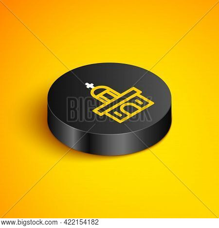 Isometric Line Church Building Icon Isolated On Yellow Background. Christian Church. Religion Of Chu