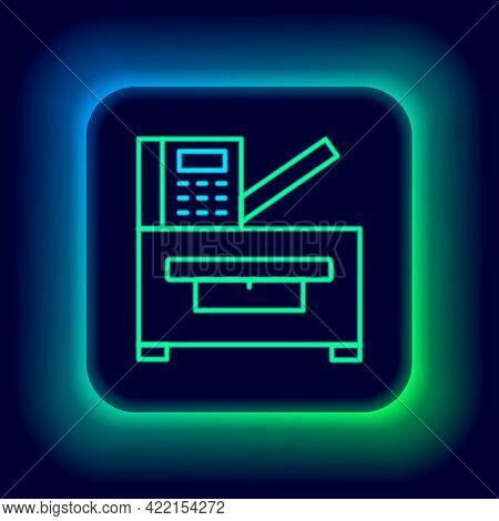 Glowing Neon Line Office Multifunction Printer Copy Machine Icon Isolated On Black Background. Color