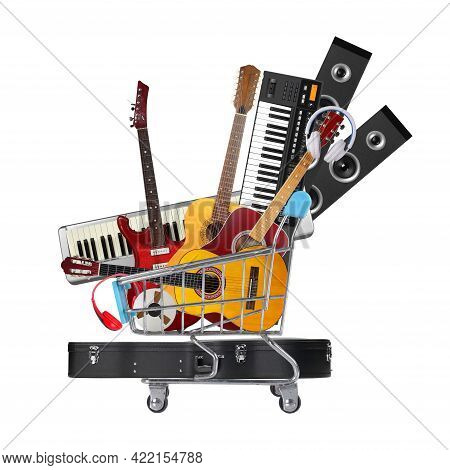 Stack Pile Collage Of Various Musical Instruments In Shopping Cart. Electric, Acoustic And Classic G