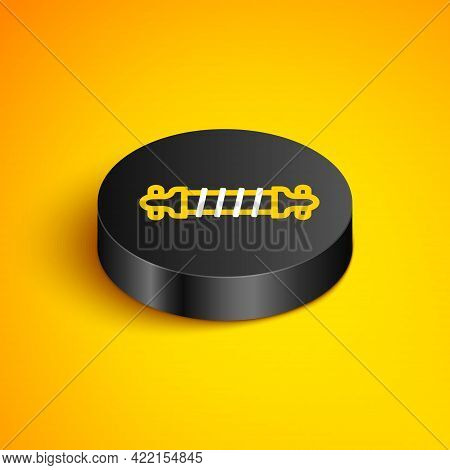 Isometric Line Bicycle Suspension Icon Isolated On Yellow Background. Black Circle Button. Vector
