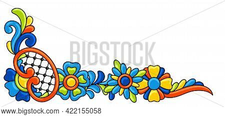 Decorative Element With Mexican Talavera Pattern. Decoration With Ornamental Flowers. Background Wit
