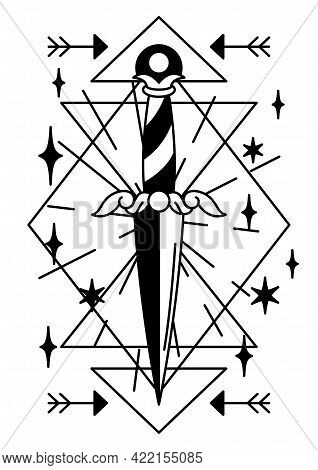 Magic Illustration With Ancient Dagger. Mystic, Alchemy, Spirituality And Tattoo Art.