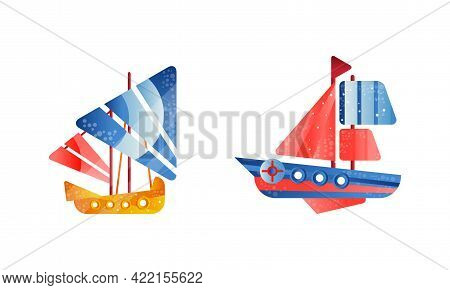 Sailing Yachts Set, Ships With White And Red Sails, Ocean Or Marine Transport Flat Vector Illustrati