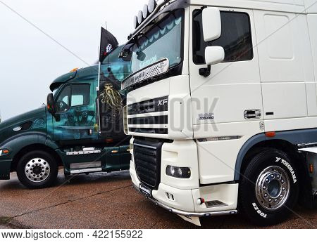 Russia, Bykovo,29.05.2021.powerful Trucks At The Moscow Region Freight Transport Festival Truckfest