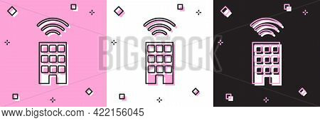 Set Smart Home With Wireless Icon Isolated On Pink And White, Black Background. Remote Control. Inte