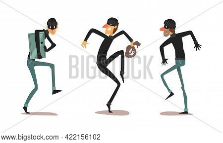 Robber Characters Set, Male Thieves Dressed Black Clothing In Masks Committing Crimes Cartoon Vector