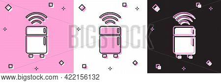 Set Smart Refrigerator Icon Isolated On Pink And White, Black Background. Fridge Freezer Refrigerato