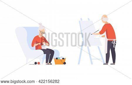 Elderly People Hobbies Set, Senior Man Painting On Canvas And Senior Woman Knitting, Active Lifestyl