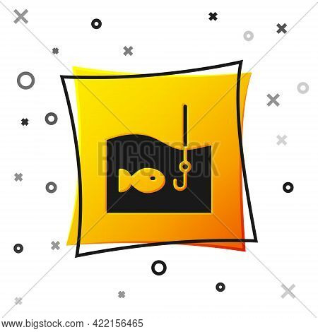 Black Fishing Hook Under Water With Fish Icon Isolated On White Background. Fishing Tackle. Yellow S