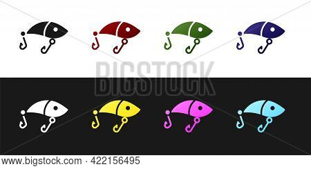 Set Fishing Lure Icon Isolated On Black And White Background. Fishing Tackle. Vector