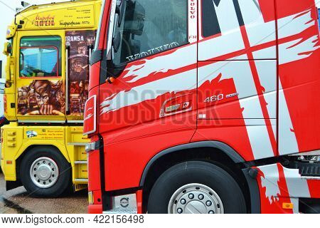 Russia, Bykovo,29.05.2021.bright Cabs In Trucks At The Moscow Region Freight Transport Festival Truc