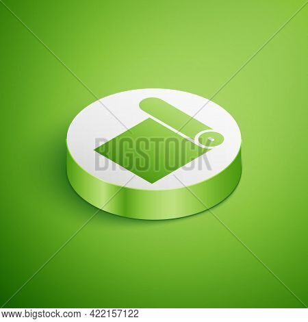 Isometric Fitness Mat Roll Icon Isolated On Green Background. Yoga Mat Rolled. Sport Equipment. Whit